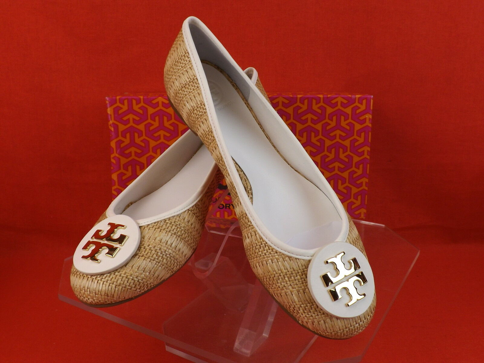 New in Box Tory Burch en Cuir Blanc Paille Raphia naturel Big Reva Ballerines 10.5