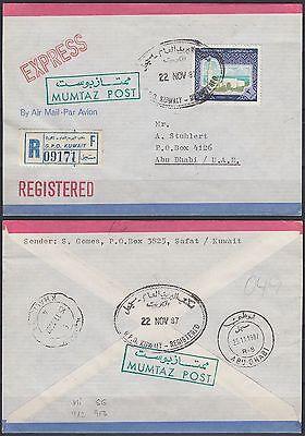 Romantisch 1987 Kuwait Express-r-cover To Abu Dhabi bl0194 Sief Palace Mumtaz Post