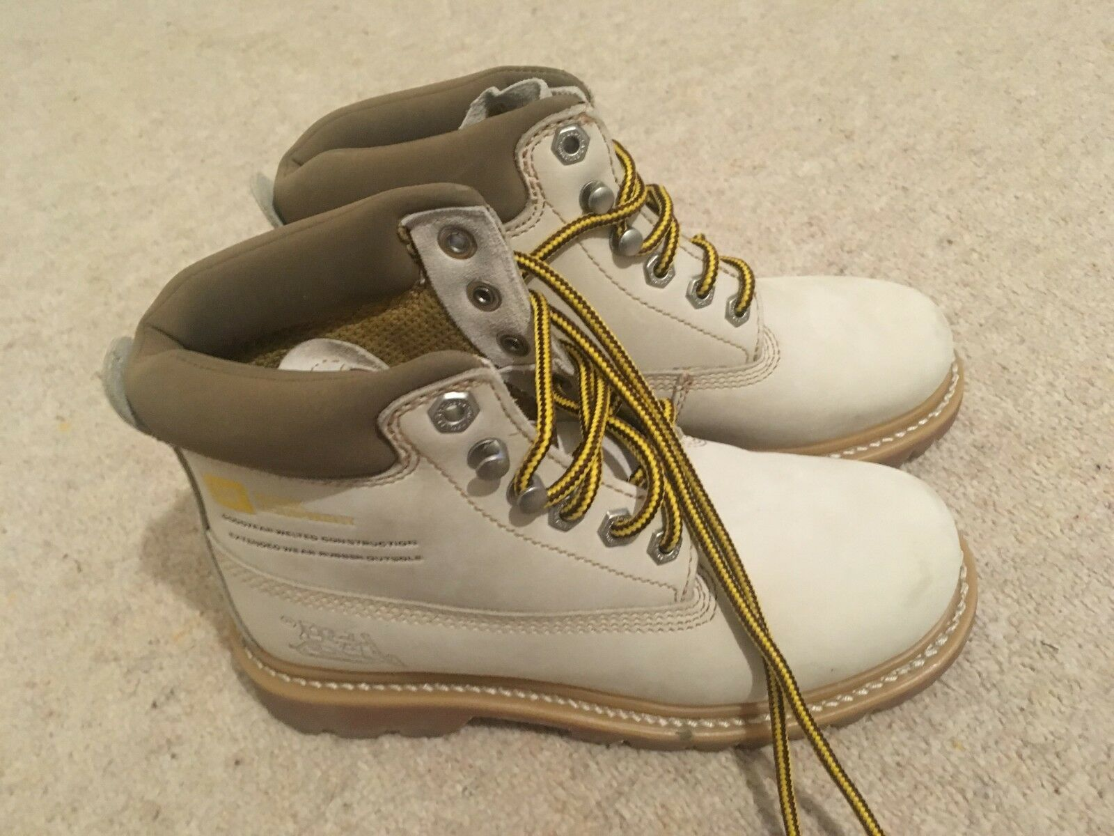 Weiß Caterpillar Cat Stiefel Suede Work Equipment Techni Flex Größe 4 37 New