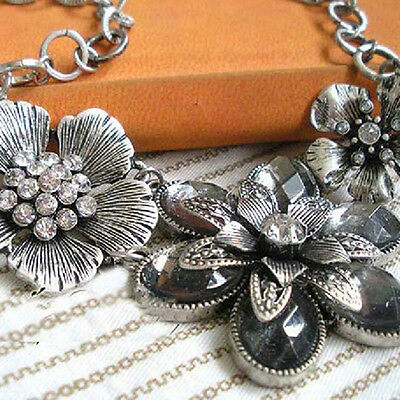 Vintage Retro Womens Rhinestone Crystal Petal Silver Flower Choker Necklace Gift