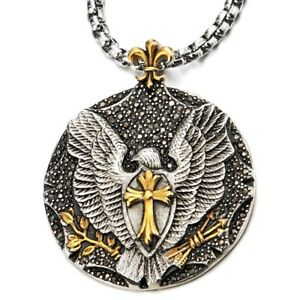 Eagle-Cross-Pendant-Necklace-with-Black-Cubic-Zirconia-Steel-Silver-Gold-Color