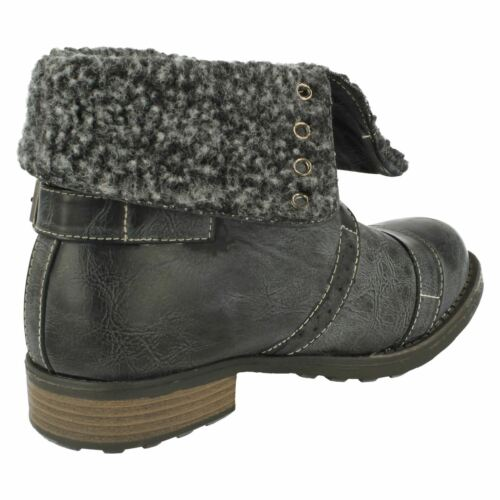 SALE Boys Cutie Black//Grey synthetic lace up ankle boot Faux fur cuff N2014