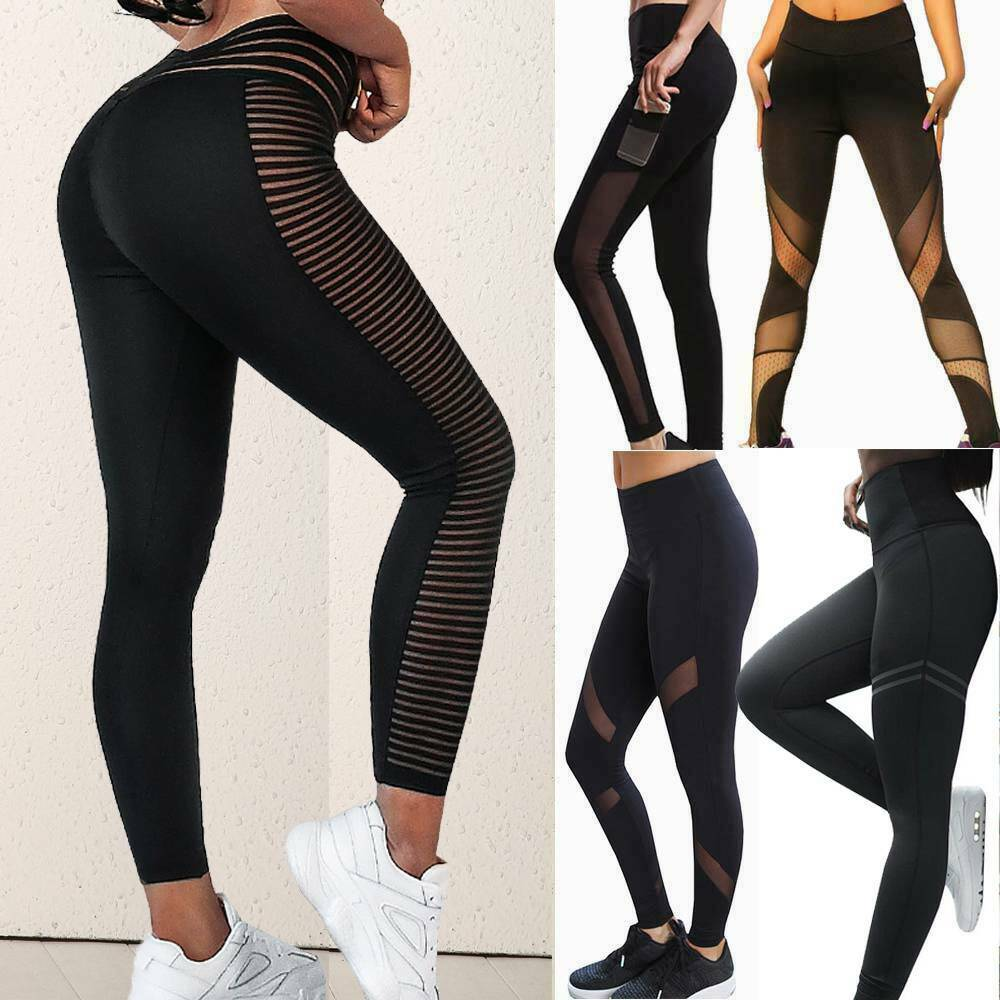 Womens Yoga Pants Mesh Leggings Pockets Workout Fitness Gym Push Up Trousers