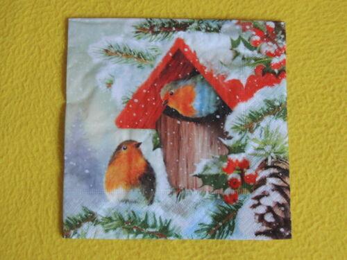 5 Servietten Rotkehlchen Winter Serviettentechnik Weihnachten Vogelhaus robin
