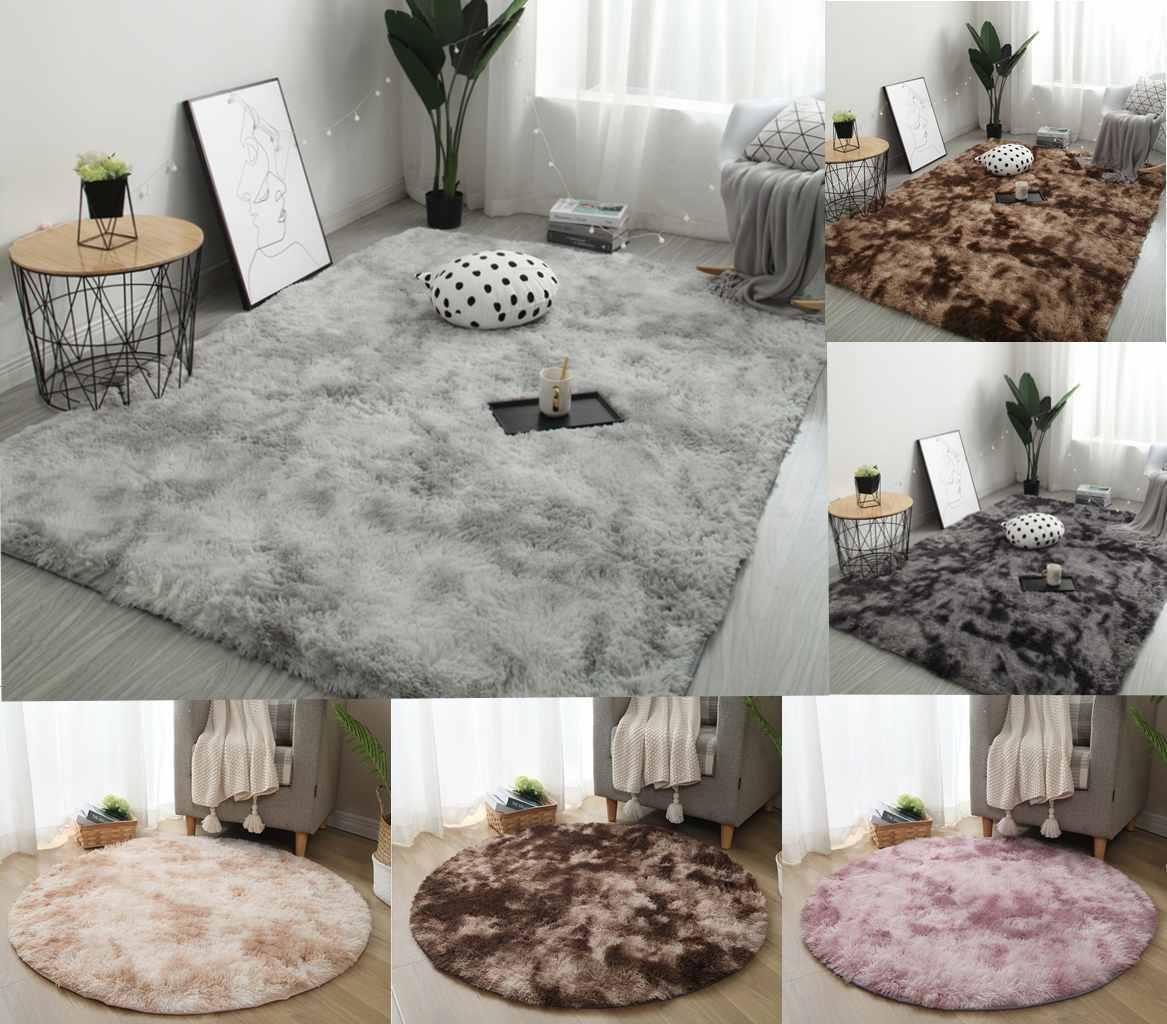 Hot Soft Comfort Hairy Carpet Rectangular Round Faux Fur Shaggy Rug Bedroom Mat