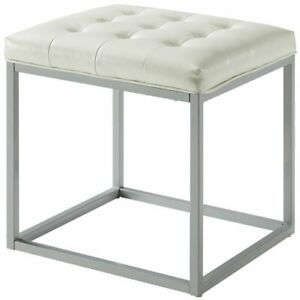 Astonishing Details About Nolan White Cube Ottoman Pu Leather Button Tufted Metal Frame Squirreltailoven Fun Painted Chair Ideas Images Squirreltailovenorg