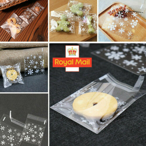 100PCS XMAS Christmas Cellophane Cookie Bag Sweet Candy Biscuit Gift Bags Party