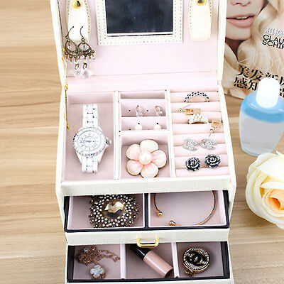 Jewelry Ring Bracelet Earring Storage Container Organizer Box Case Holder Gift