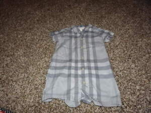 053aad695fbf Image is loading BURBERRY-CHILDREN-12M-12-MONTHS-BLUE-PLAID-ROMPER-
