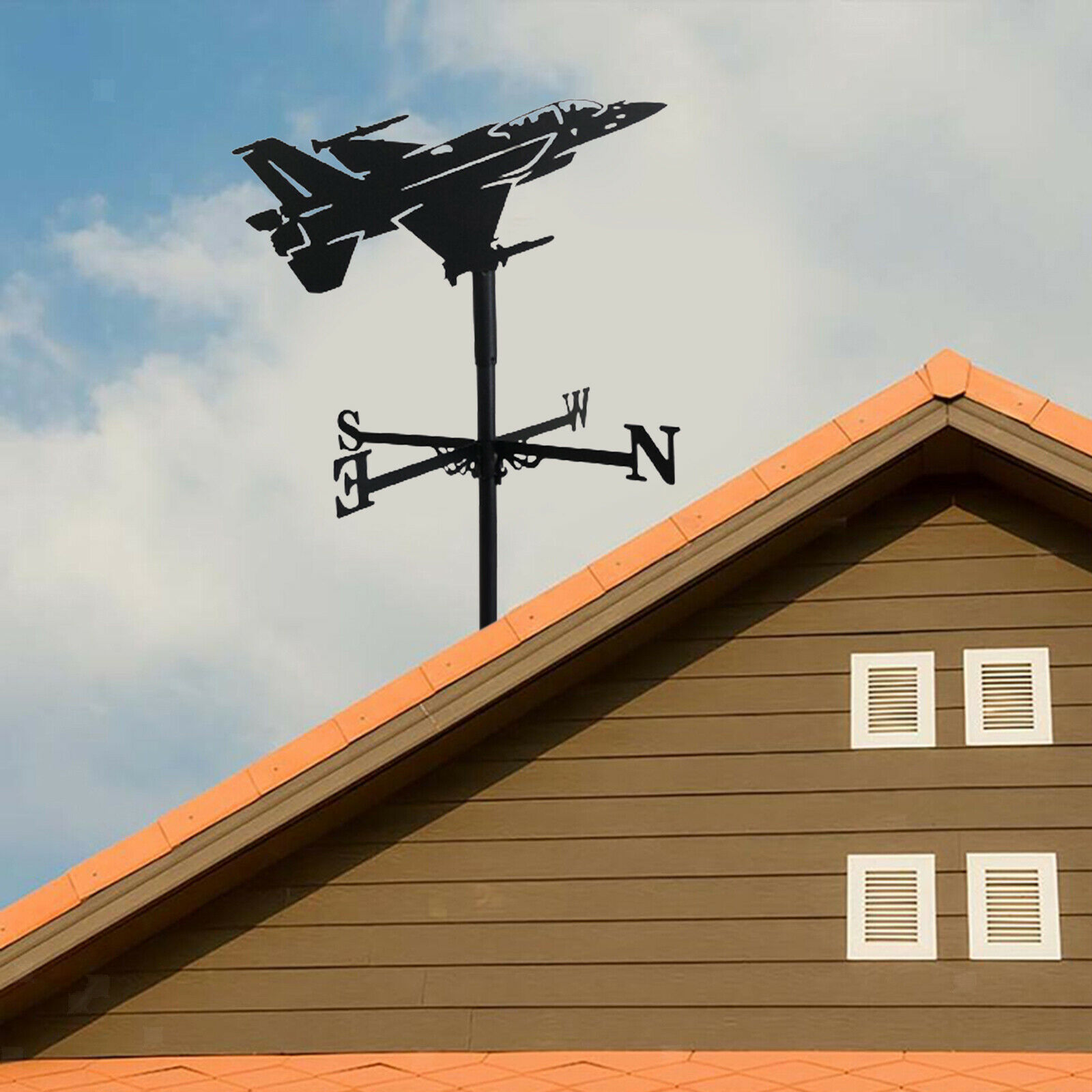 Retro Stainless Weather Vane with Aircraft Silhouette Wind Indicator Garden
