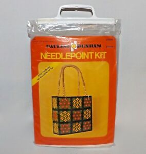 VTG-1970s-Pauline-Denham-Calico-Bag-Tote-Canvas-Needle-Point-Kit-NEW