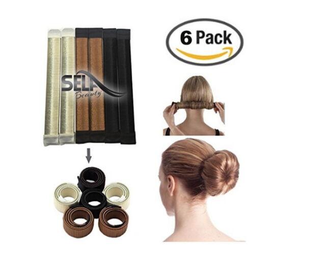 456452c7a 6 Packs Hair Styling Donut Former Foam French Twist Magic DIY Tool Bun Maker