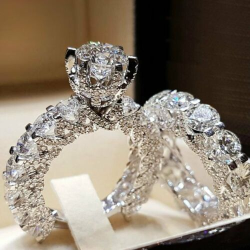 5.74 Ct Round Cut Engagement Wedding Ring Sets In 925 Sterling Silver