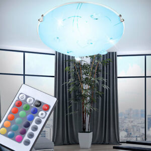 rgb led decken leuchte glas kristall wohnzimmer flur bad lampe mit fernbedienung ebay. Black Bedroom Furniture Sets. Home Design Ideas