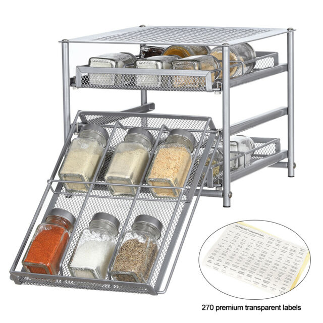 NEX Spice Rack 3 Tier 24-Bottle Spice Drawer Organizer for Pantry Kitchen Cabinet Metal