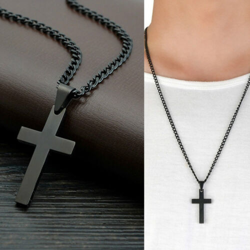 Stainless Steel Cross Pendant Men Women Chain Necklace Religious Jewelry Solid