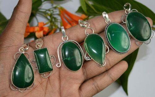 Green Onyx Gemstone 925 sterling silver plated pendants lots 5PCSBN-243