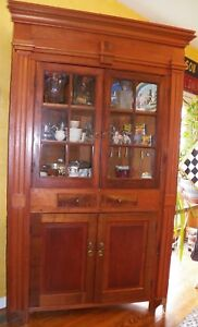Details about Antique 1850\'s Empire 12 plane Corner Cupboard Kitchen  Cabinet Raised Panel