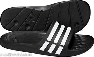 3db209e36d033 Men s ADIDAS Duramo Slides G15890 Black White Classic Slide ...