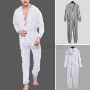 Men-039-s-One-Piece-Pajamas-Sleepwear-Bodysuits-All-in-One-Hooded-Jumpsuit-Nightwear