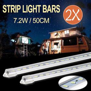 2X-50CM-12V-7020-LED-STRIP-LIGHT-BAR-CARAVAN-4WD-CAMPING-BOAT-TENT-ISHING