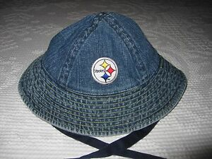 e18ca2e8a55 Image is loading Pittsburgh-STEELERS-Denim-Bucket-Hat-Baby-Infant-Child-