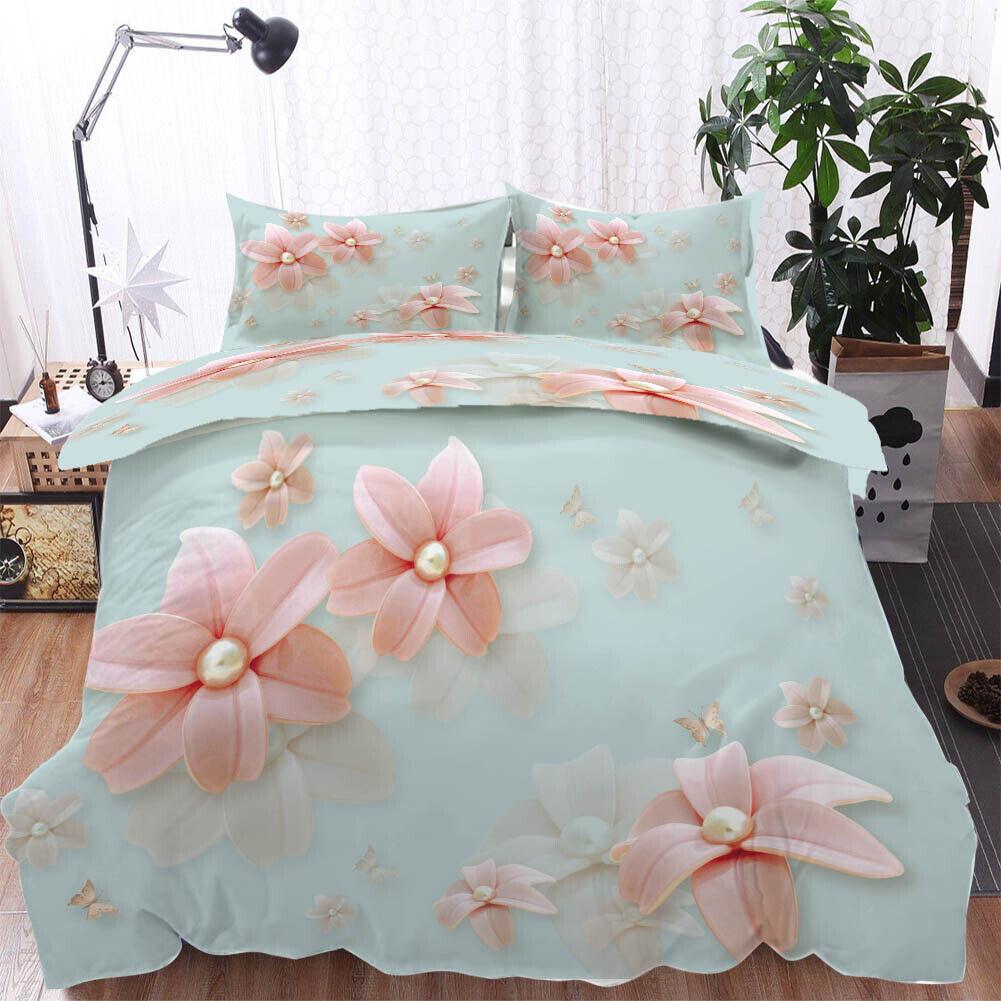 A Petal Pearl 3D Printing Duvet Quilt Doona Covers Pillow Case Bedding Sets