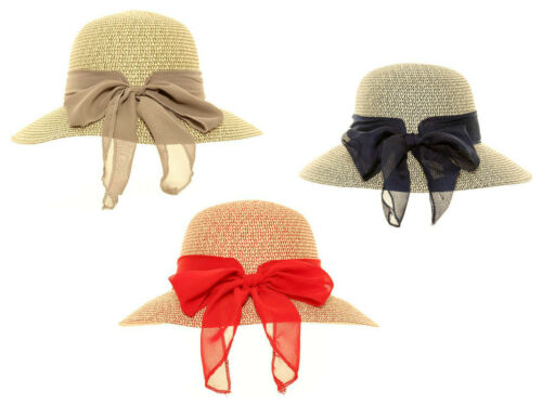Womens Straw Short Brim Hat With Scarf Bow 3 Colours One Size