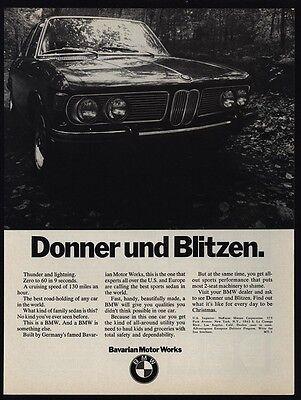 1970 BMW Sports Car Donner Und Blitzen VINTAGE ADVERTISEMEMENT