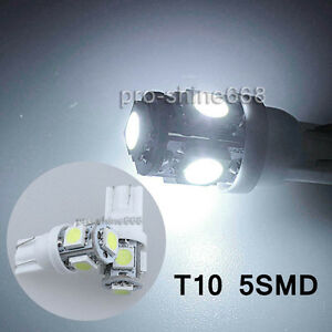50x T10 5050 W5W 5 SMD 194 168 LED White Car Side Wedge Tail Light Lamp 2825