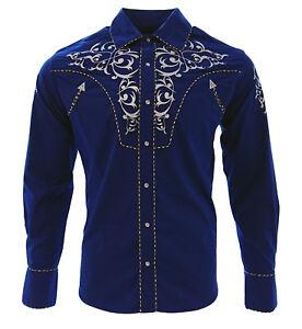 cf9c896d12 Cowboy Shirt Camisa Vaquera Western Wear El General Long Sleeve Blue ...