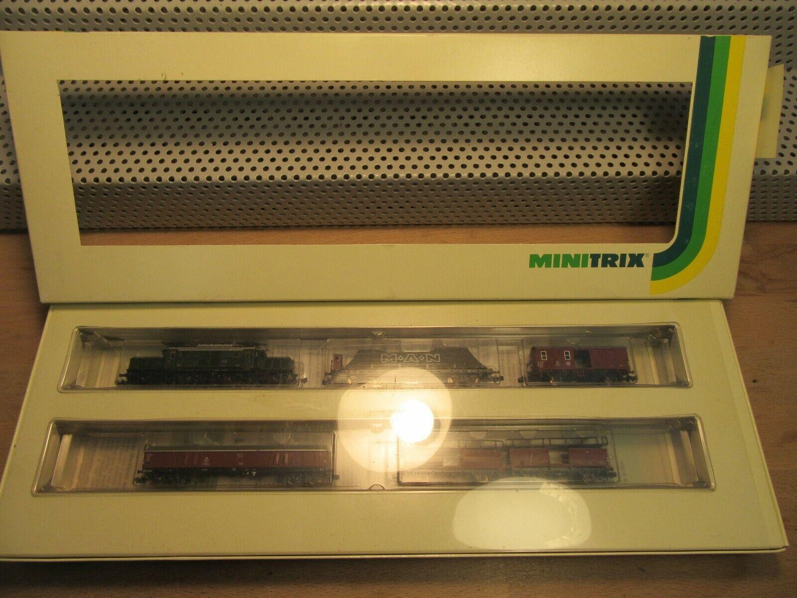 Minitrix n 11321 gasóleo br e 93 15 DB con 4 vagones analógico sin usar en su embalaje original