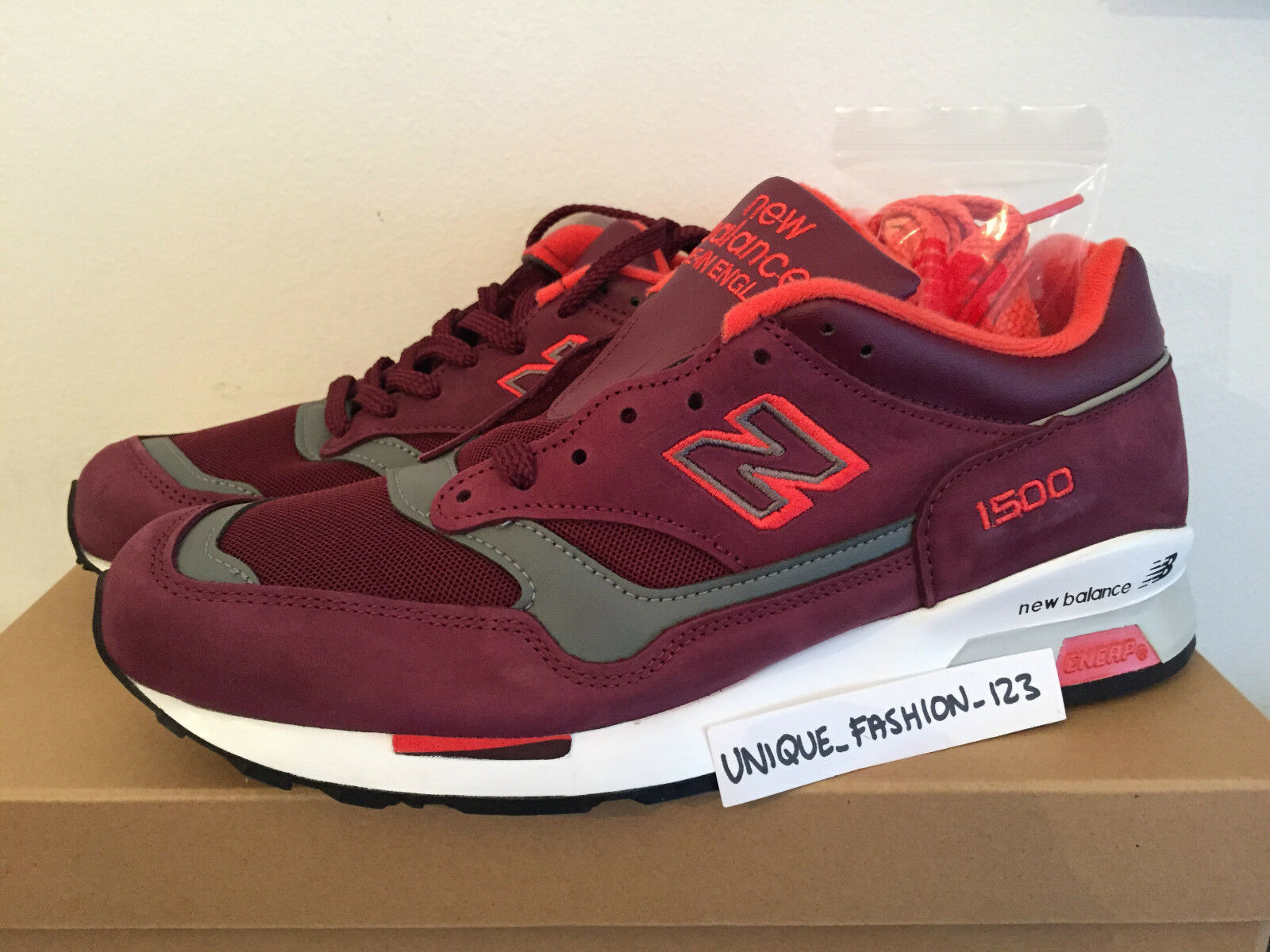 NEW BALANCE 2018 BRG US 7.57 40.5 MADE IN ENGLAND MAROON NEON Rouge BURGUNDY