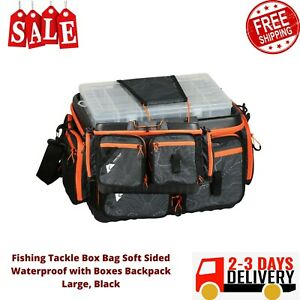 Fishing Tackle Box Bag Soft Sided Waterproof with Boxes Backpack Large, Black