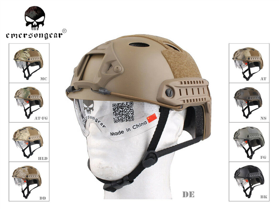 Airsoft Tactical Emerson FAST Helmet with Predective Goggle PJ EM8819