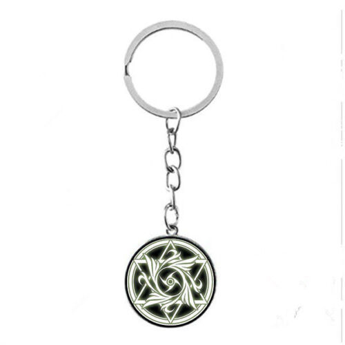 Vintage Glass Cabochon silver Matal Car Key chain ring pendant(Celtic wicca)C-38