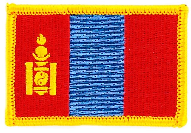 FLAG PATCH MONGOLIA IRON ON GLUE EMBROIDERED