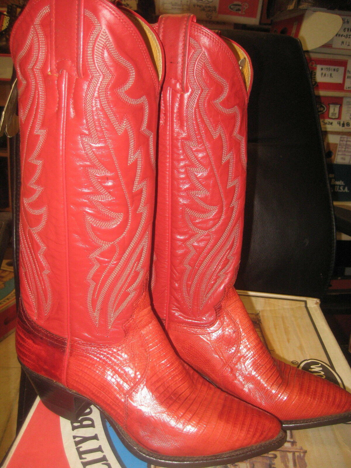 Justin Boots women's Red Lizard Leather Cowboy Boot US  5820  Size US Boot 4 B ef7f33