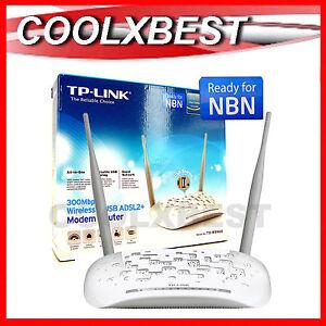 TP-LINK-N300-WIRELESS-MODEM-ROUTER-ADSL2-NBN-READY-w-USB-PORT-WiFi-TD-W8968