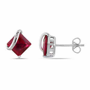 Amour 10k White Gold Square Created Ruby Earrings