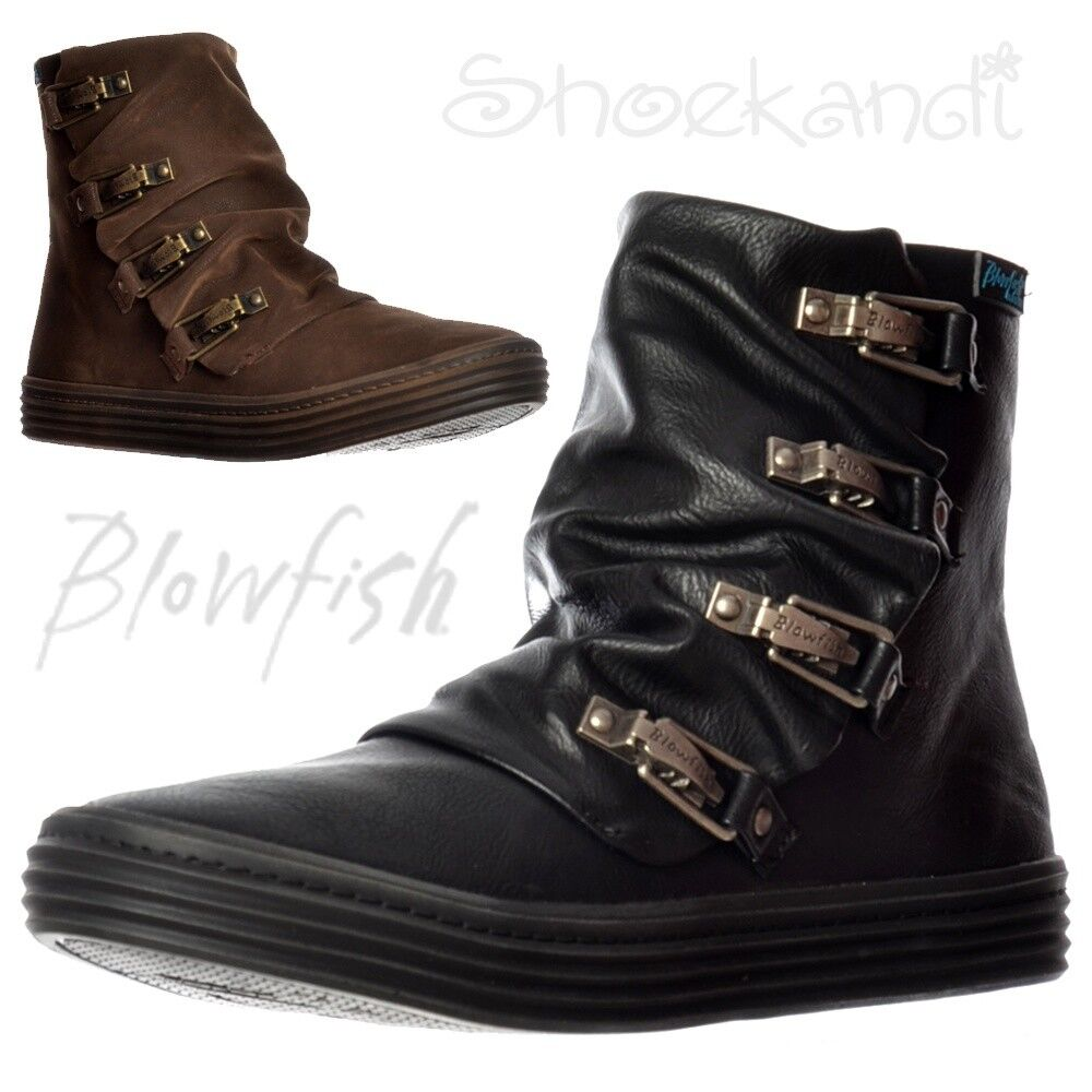 Womens Blowfish OHMY Wedged Platform Flat Winter Ankle Boots Black Brown Size