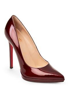 100% AUTHENTIC NEW WOMEN LOUBOUTIN PIGALLE PLATO 120 BURGUNDY PUMPS ... 445db579d1e8