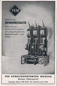 10-623-WERBUNG-AUS-EINER-ZEITSCHRIFT-DDR-1954-VEB-SCHALTGERATEWERK-MUSKAU