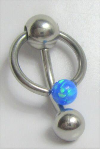 Ópalo azul aro de piedra Dangle Barbell Barra Anillo de campana VCH Clit del clítoris calibre 14