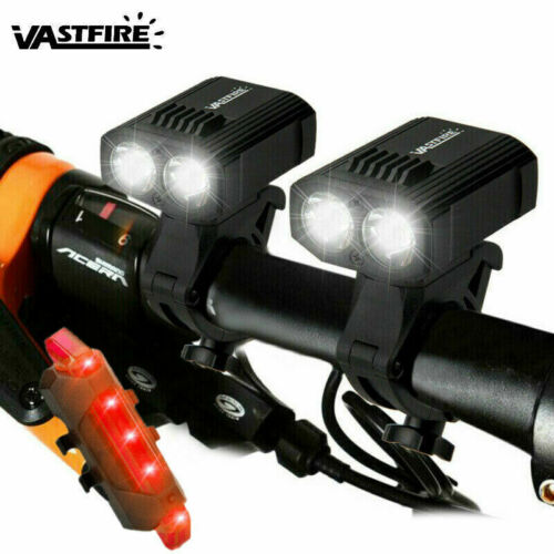 2X Front+Rear Bicycle Light Bike Cycle Rechargeable 15000LM T6 LED USB Headlight