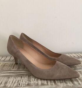 675c0dc180ab J Crew Dulci Suede Kitten Heels Shoes  198 Kraft Brown Almost Grey 7 ...