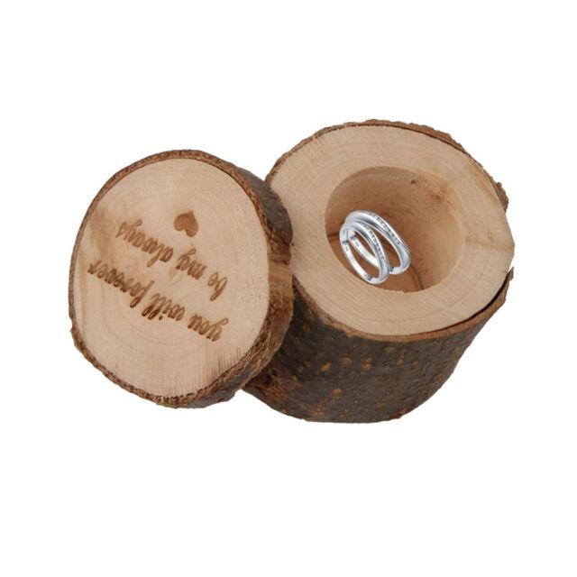 Rustic Wedding Engagement Ring Box Bearer Custom Wooden Ring Holder Case GiftsKQ