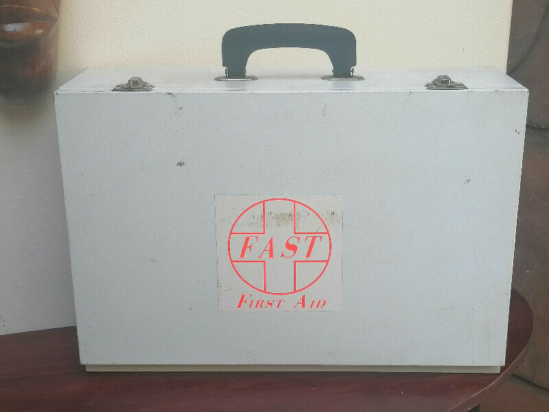 vintage first aid metal portable wall case