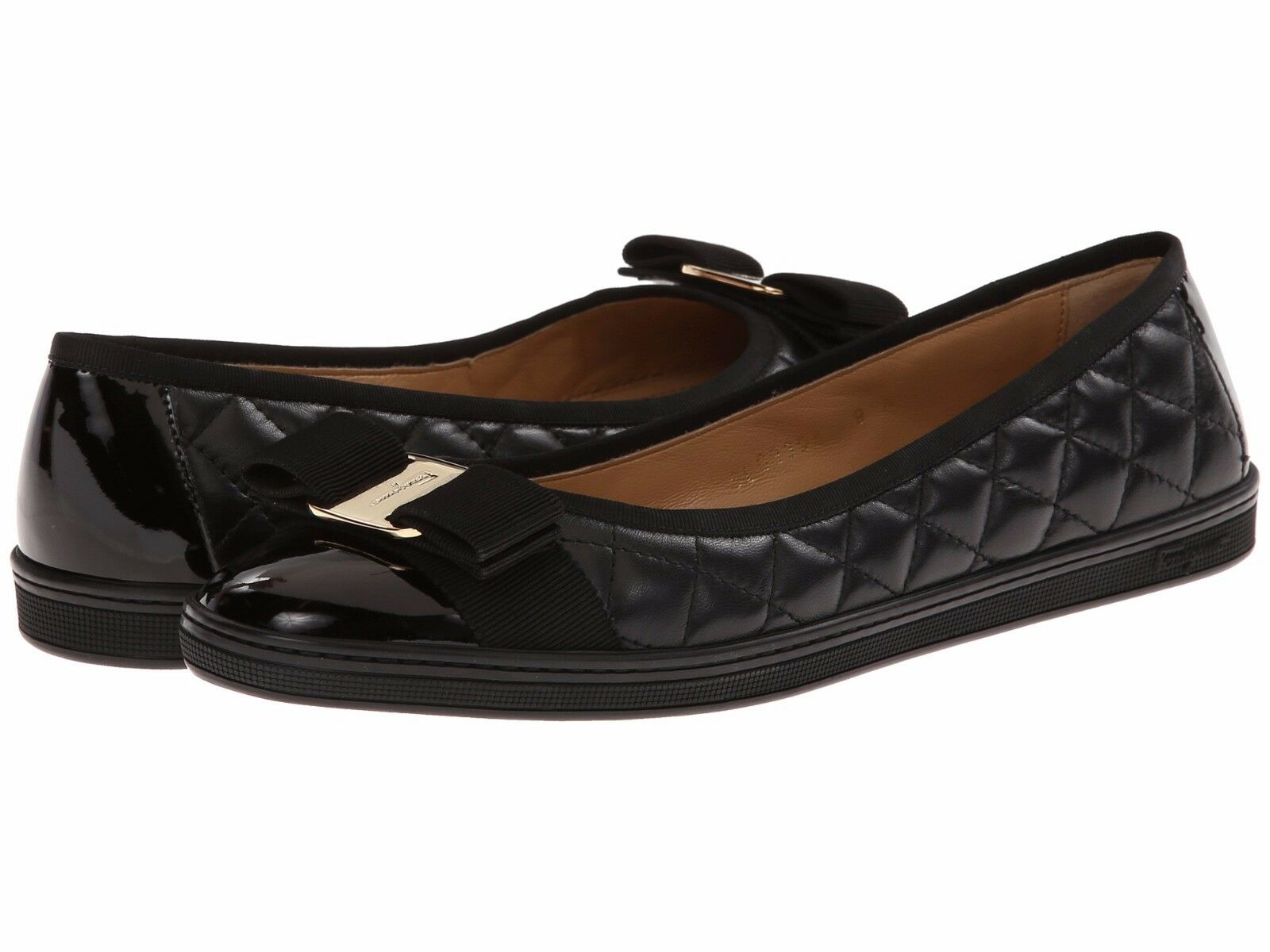 NIB NEW Salvatore Ferragamo Rufina Black quilted quilted quilted flats shoes 6 7 8 8.5 9 10 11 314d13
