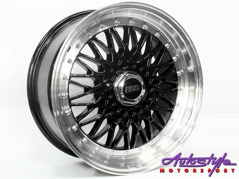 17 inch BSS 4-100 AND  4-108 Black Alloy wheels BBS SIMILAR STYLE DESIGN  - 4 100 AND 4 108 pcd - 7.